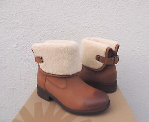 6a755add49 Details about UGG ALDON WATER-RESISTANT CHESTNUT LEATHER/ WOOL CUFF BOOTS,  US 9/ EUR 40 ~NIB