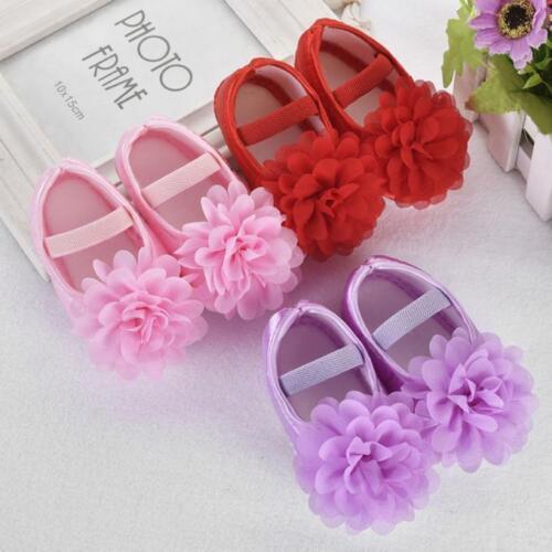 Fashion New Style Toddler Kids Girls Chiffon Flower Elastic Band Walking Shoes