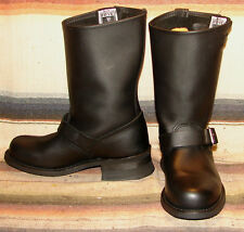 Womens Vintage Frye Black Leather Engineer Motorcycle Boots 6.5 M Excellent Cond