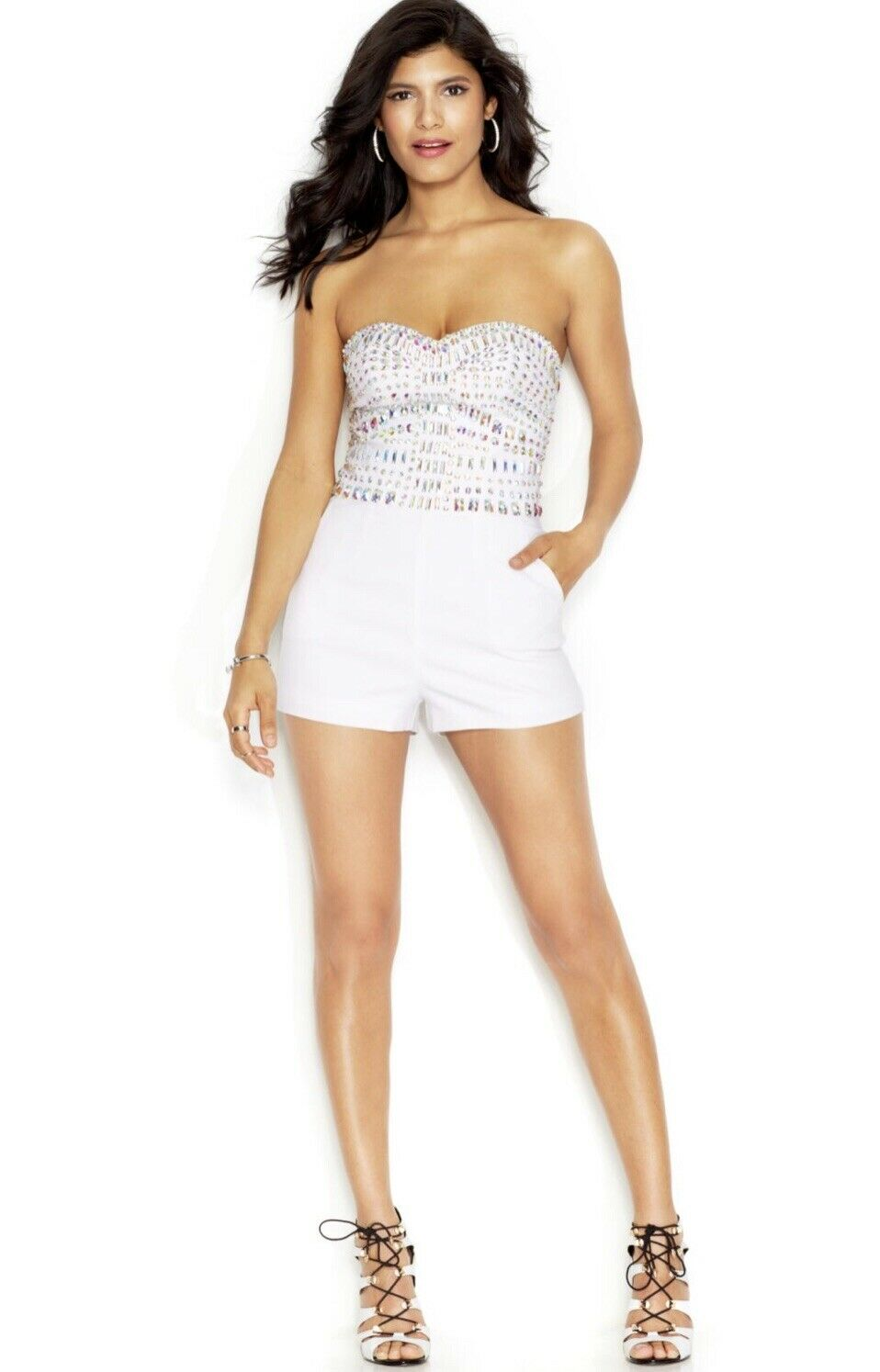 NWT GUESS Strapless JEWEL Embellished WHITE Romper SIZE 2