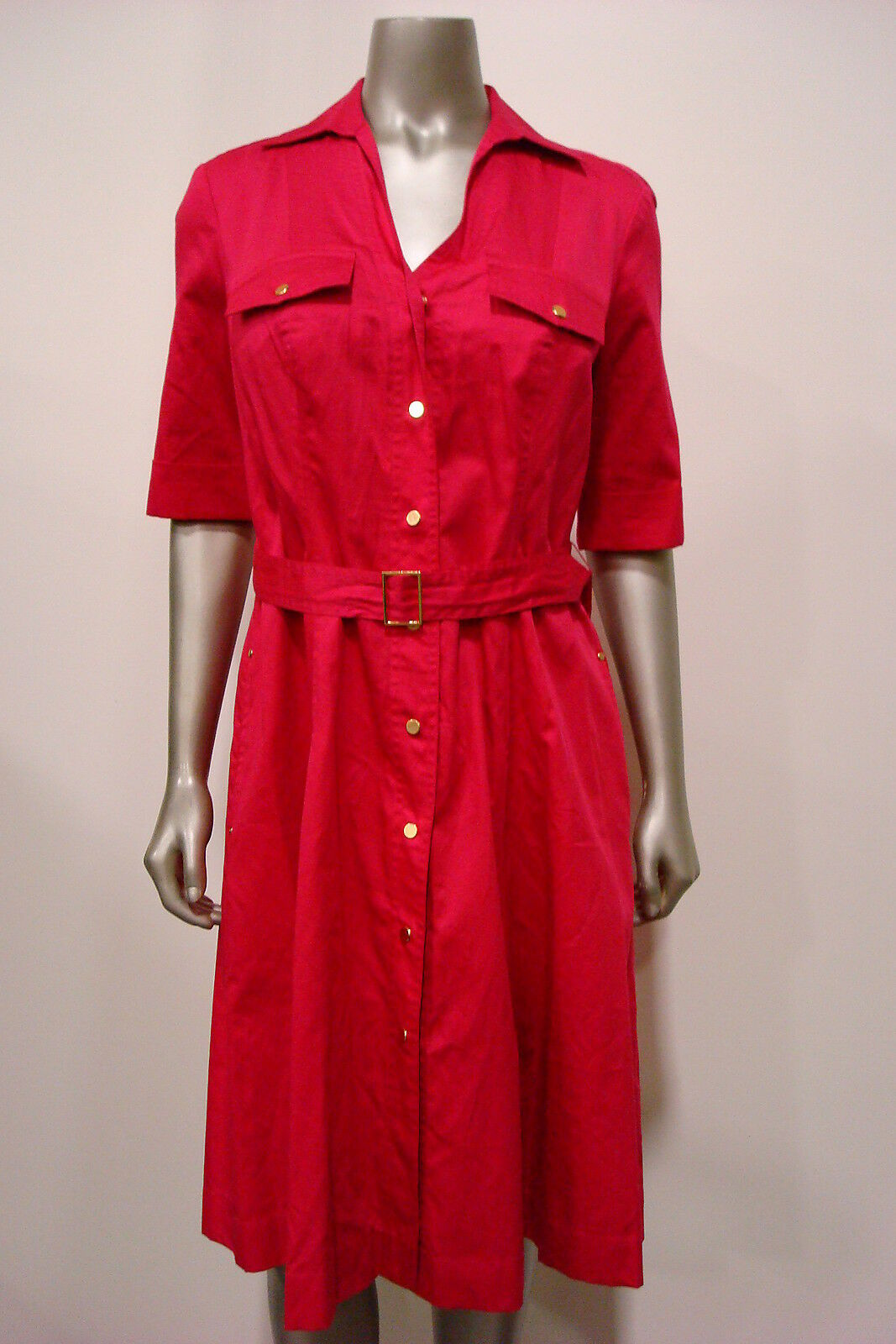 Jones New York Woherren Belted A-Line Button Down Shirt Dress Rosa 8
