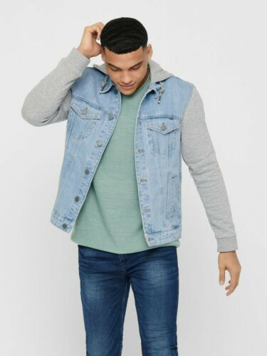 Only /& Sons Mens Denim Jacket Hoodies Long Sleeves Buttoned Casual Jeans Coat