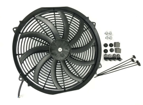 "16/"" INCH S Blade SLIM ELECTRIC RADIATOR FAN PULLER HIGH POWER MOTOR 3200 CFM"