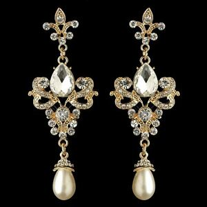 Details About Bridesmaid Gold Rhinestone White Pearl Fleur De Lis Earrings Brides Jewelry