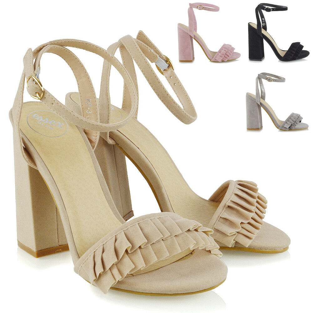 Womens High Heel Strappy Sandals Ankle Ladies Peep Toe Crossover Ankle Sandals Strap Shoes 3-8 ccad31