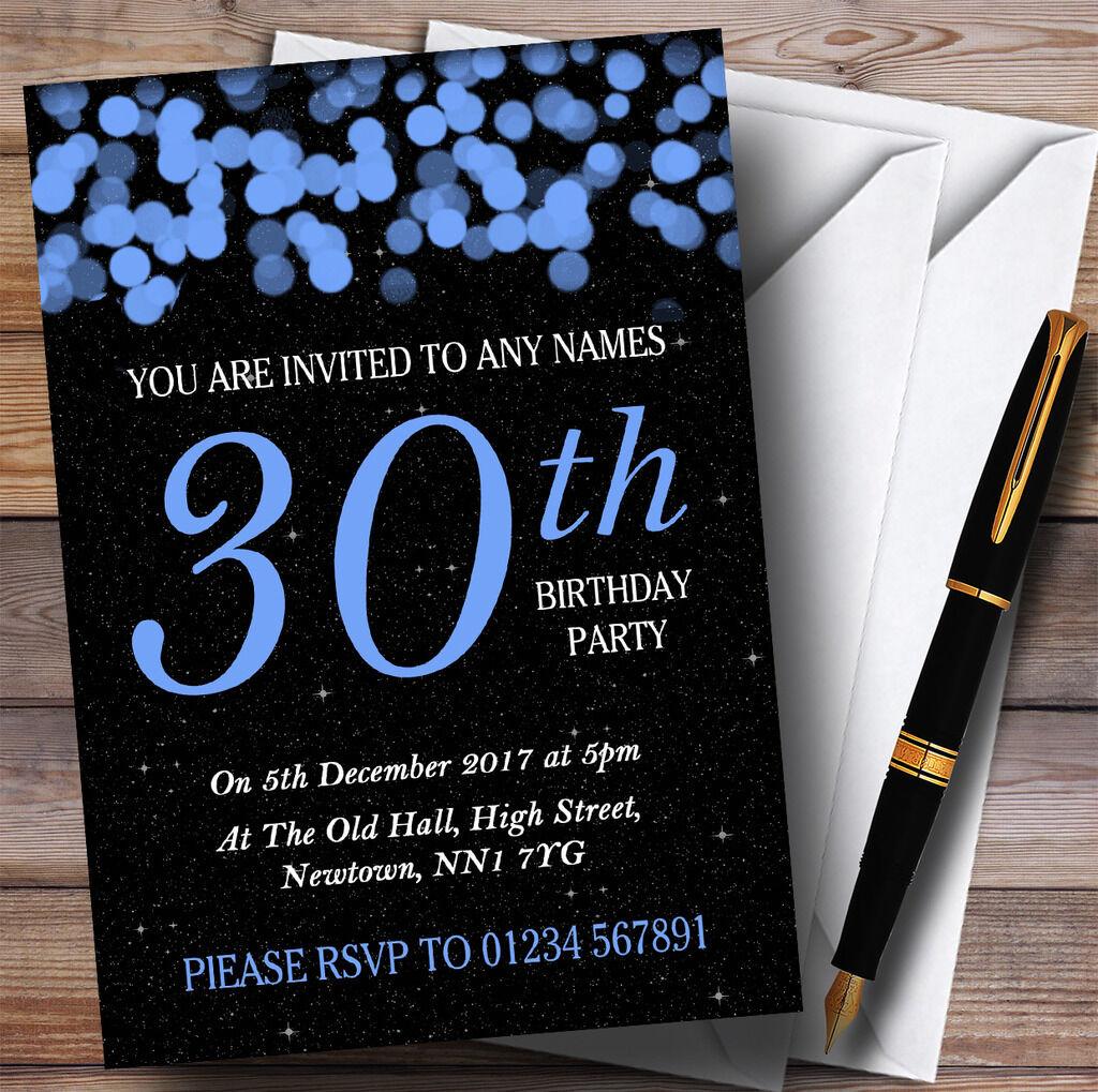 azul Bokeh & Stars 30th Personalizado Invitaciones Fiesta De Cumpleaños