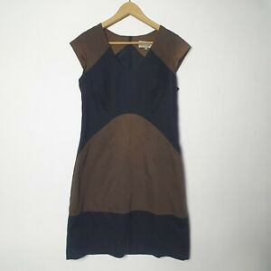 Veronika Maine Size 10 Brown Black Pencil Work Corporate Business Dress