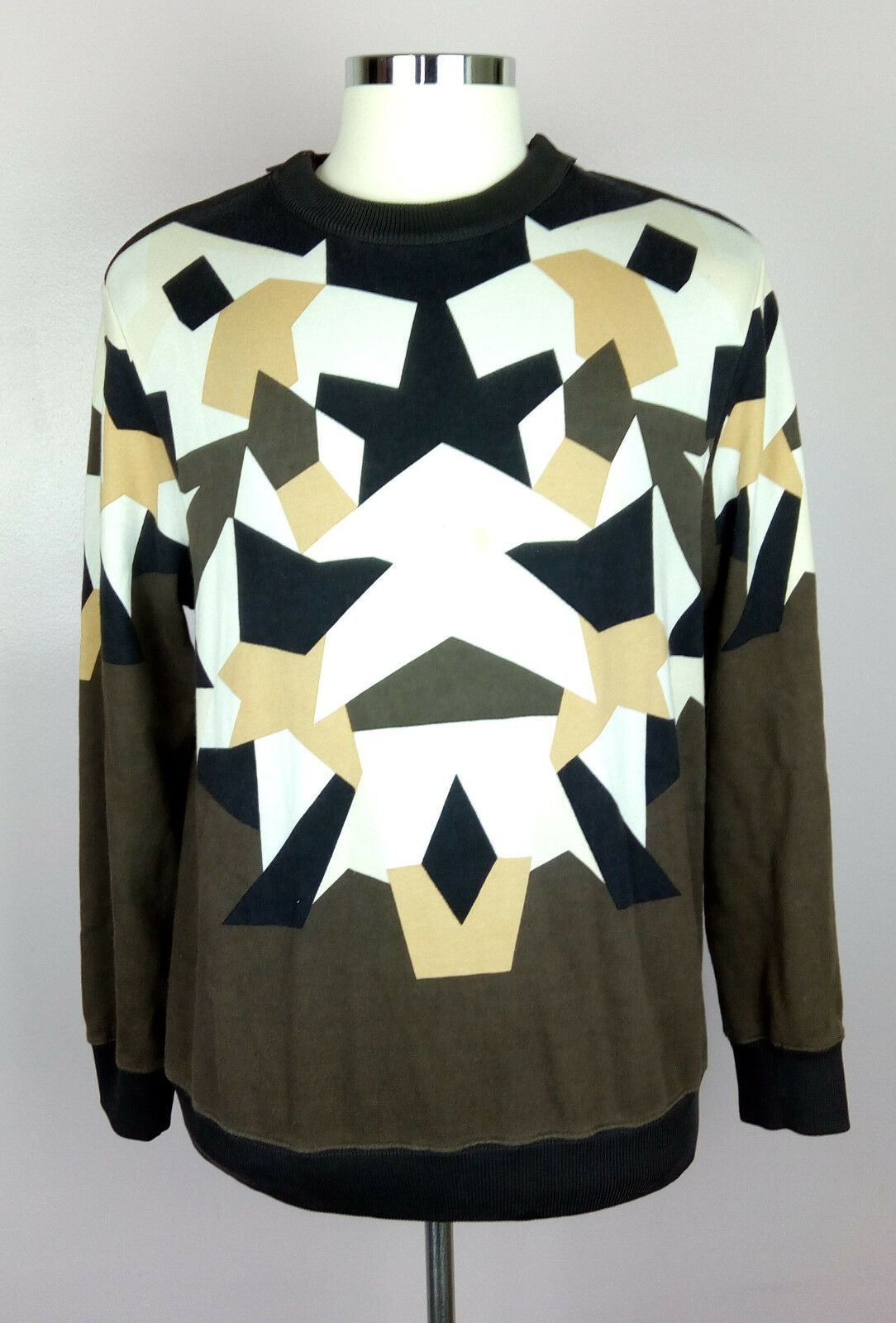 100% Authentic GIVENCHY 13A Abstract Print Columbian Fit Sweatshirt Sz S (Fit L)