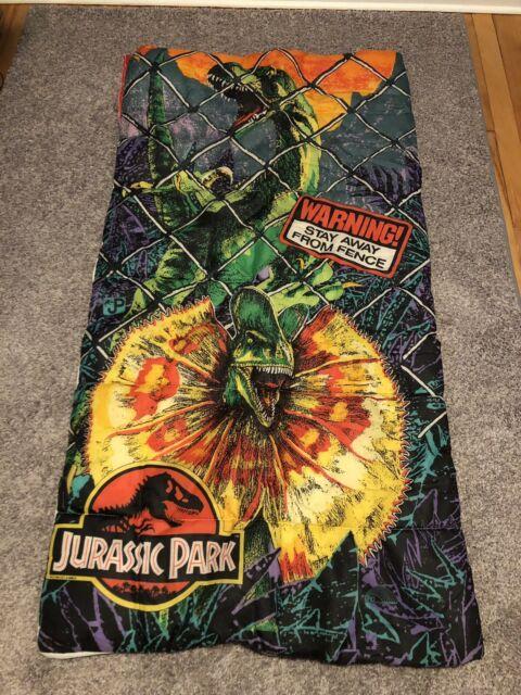 "promo code 5933f a0eb7 Vintage 1992 JURASSIC PARK Sleeping Bag 54""x28"" Dilophosaurus Velociraptor  Kids"