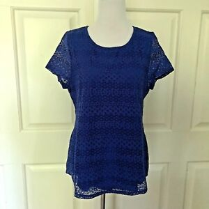 Blue New Top Layered Lace Leo Small Tee Nicole Blouse zxBqwR