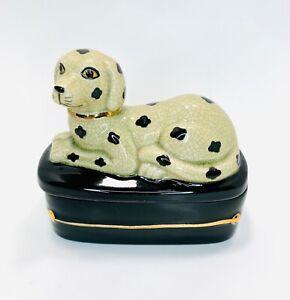 Vintage Takahashi Japan San Francisco Dalmatian Spotted Dog Crackle Glaze Box