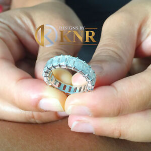 Large 14k White Gold Emerald Cut Forever One Moissanite Eternity