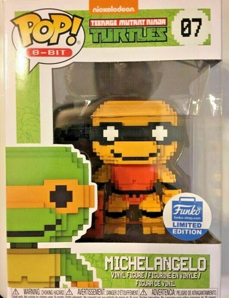 LIMITED EDITION SHOP EXCLUSIVE Funko POP  TMNT Michelangelo NEON 8-Bit  07