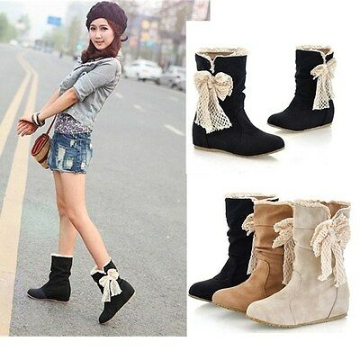 Women Winter Autumn Mid Calf Snow Boots Lace Bowknot Low Heel Flat Wedge Shoes