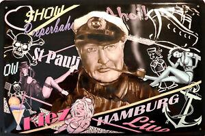 Hans Albers Reeperbahn Hamburg Blechschild Schild 3D gewölbt Tin Sign 20 x 30 cm
