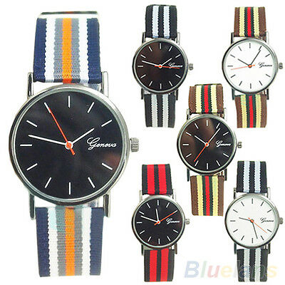 Unisex Pretty Nice Geneva Striped Knitted Nylon Band Analog Quartz Wrist Watch