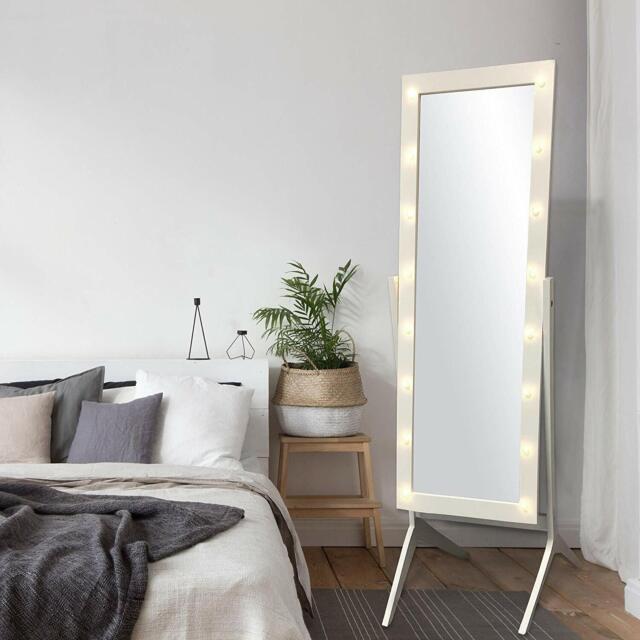 Floor Mirror Cheval Led Lights Wood