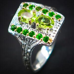 Peridot Ring 925 Sterling Silver Size 8.5 /RT19-0185