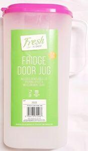 Plastica-Porta-Frigorifero-Brocca-amp-Coperchio-per-succo-di-frutta-latte-acqua-1-8L-capacita-Facile