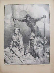 1917 Signed French WWI Propaganda Poster - Soldiers with Statue of Liberty