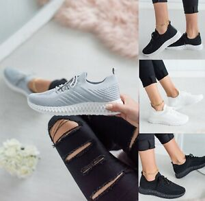 Ladies Womens Black Casual Lace Up Walking Work Trainers Sneakers Shoes Size 3-8