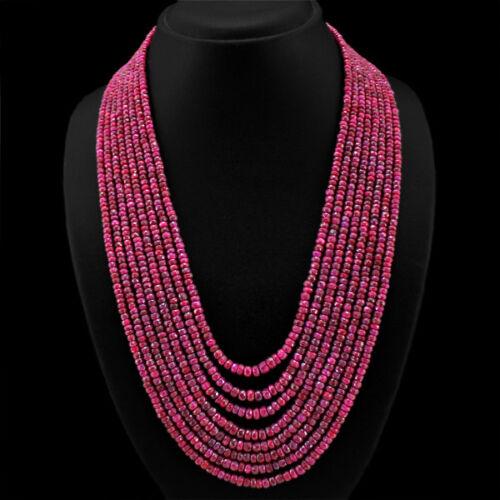 RS Classe mondiale précieux 897.00 cts Natural Red Ruby 8 ligne réelle perles collier