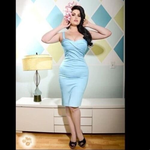Deadly Dames Pinup Couture Baby Blue Vamp Dress 2x