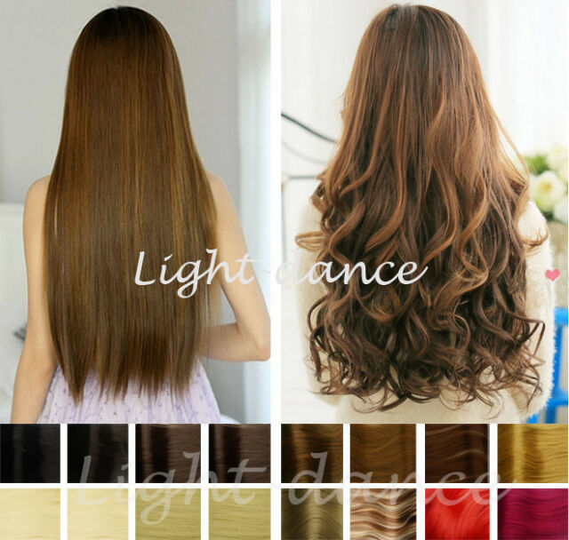 """19"""" 23"""" Synthetic straight/curly one piece hair extensions 5 clips in"""