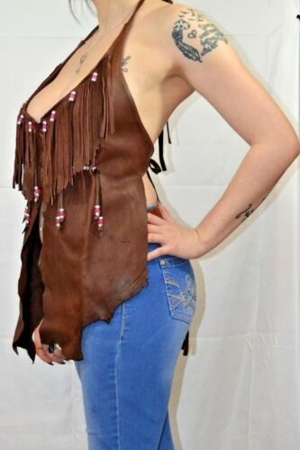 Handmade Rugged Native Style Bitter Chocolate Deer Hide Halter Beaded w//Fringe