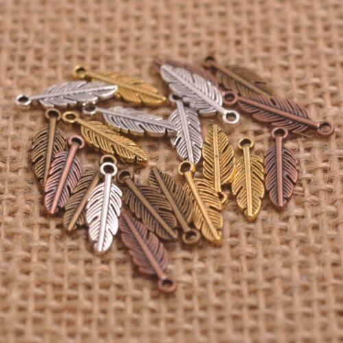 50PCS argent antique//or//bronze plumes feuilles Charm pensant trouver 15 mm D3158