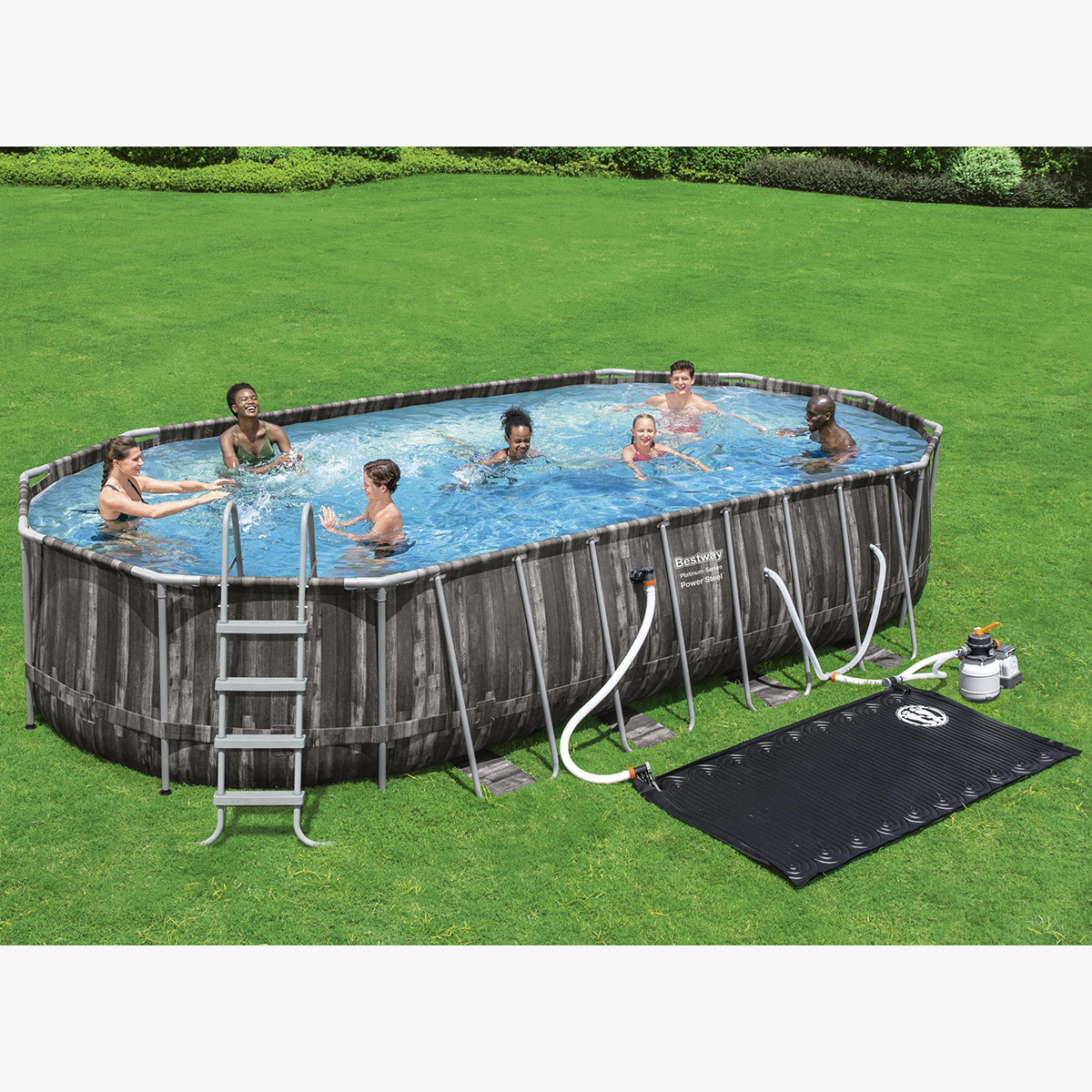 Bestway 22 x 12 ft Power Steel Oval Frame Pool with Sand Filter Pump, Solar Powe