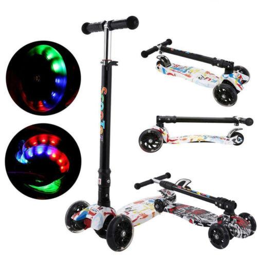 Kids Scooter Child Kick Flashing LED Light Up 3 Wheel Push Adjustable Folding UK