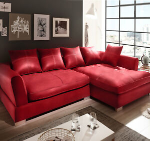 Design Couchgarnitur Rot Big Sofa K Leder Ecksofa Wohnlandschaft