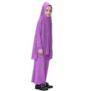 Fille-Robes-Musulmane-Islamique-a-Manches-Longues-Deux-Pieces-Priere-Robe