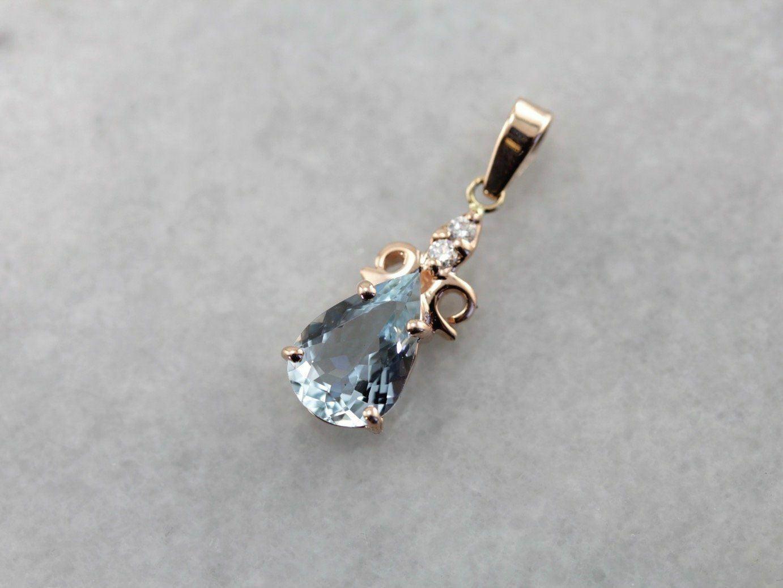 a5c35bdf8 and Drop Pendant Aquamarine Diamond nfrdmq4125-Other Fine Vintage Jewelry