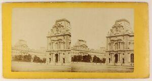 Il-Louvre-Parigi-Francia-Foto-Stereo-PL55L4n-Vintage-Albumina-c1875
