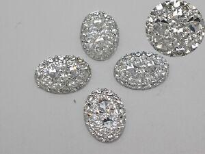 100-Clear-Glitter-Flatback-Resin-Oval-Cabochon-Pyramid-Dotted-Rhinestone-13X18mm