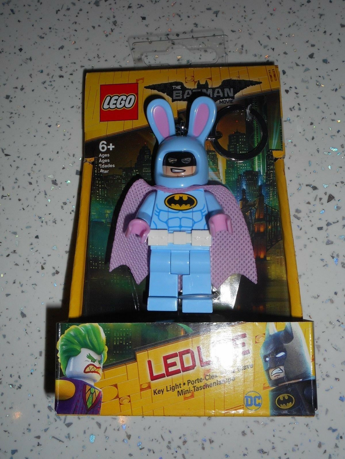 New Lego Batman Movie Easter Bunny Suit Guy LED Lite Key Ring Light Torch