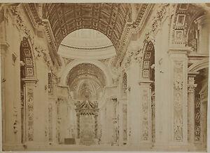 SystéMatique Intérieur De Saint Pierre à Rome Italie Vintage Albumine, Ca 1880