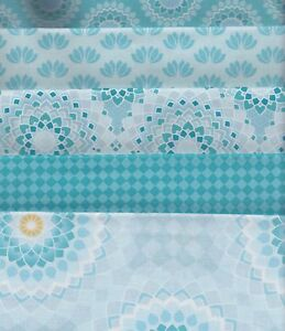 CLEARANCE-Lotus-Blue-Half-Metre-Bundle-100-cotton-5-pieces-50-x-110cm