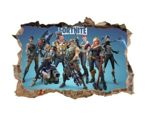 3D Fortnite Game Wall Sticker Decal Mural Art Stickers Bedroom Gamer Room Decor