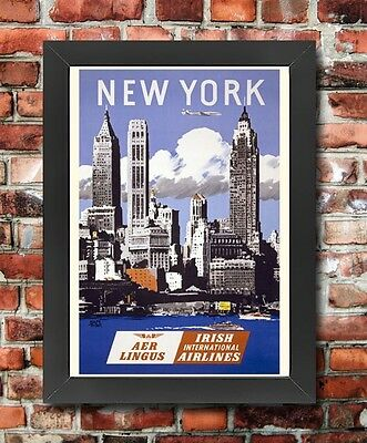 TX114 Vintage New York Irish Airlines Framed Travel Tourism Poster A3//A4