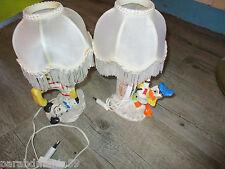lot lampes de chevet-Donald et dalmatien-Céramique blanche&tissu-28 cm