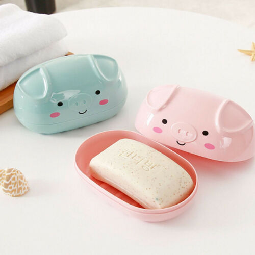 Pig Shape Cartoon Shower Soap Box Dish Tray Plate Holder Travel Carry Case Shan