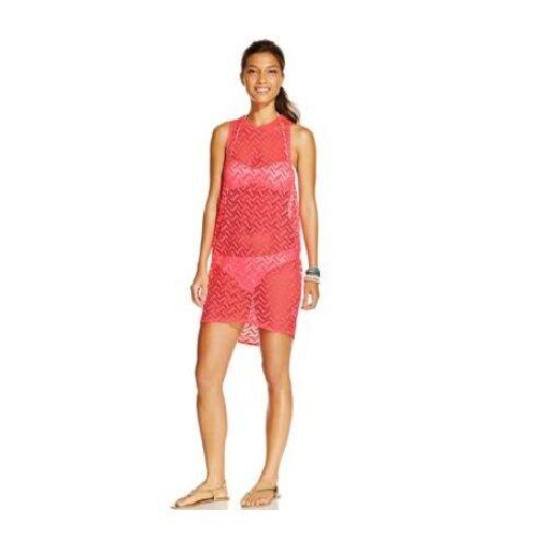 4fb082c52e Miken Swim Neon Coral Sleeveless Crochet Tunic Cover up L for sale online