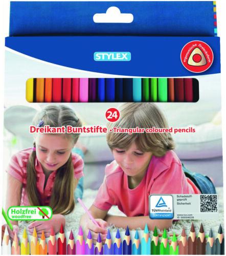Buntstifte Malstifte Farbstifte Schreibgeräte Dreikant Schreibwaren 24er Pack