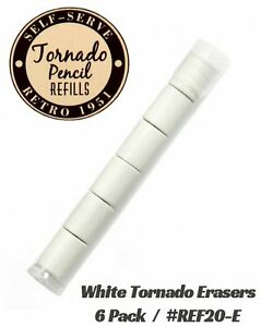 Retro 51 #REF20-E / Six Pack of White Erasers For Tornado Pencils