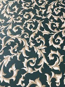 Details About Vintage Wallpaper Double Roll Green Beige Fleur De Lis Royal Stuart Prepasted
