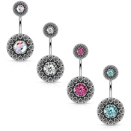 CZ CENTER TRIBAL CIRCLE BELLY BUTTON RING NAVEL PIERCING BODY JEWELRY 14G 3//8/""
