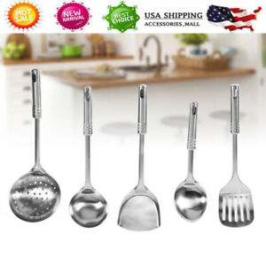 5PCS-Stainless-Steel-Kitchen-Utensil-Set-Cooking-Serving-Tools-Spatula-Spoon-US